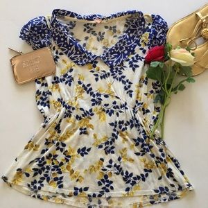 Colored blouse blue and yellow Anthropologie